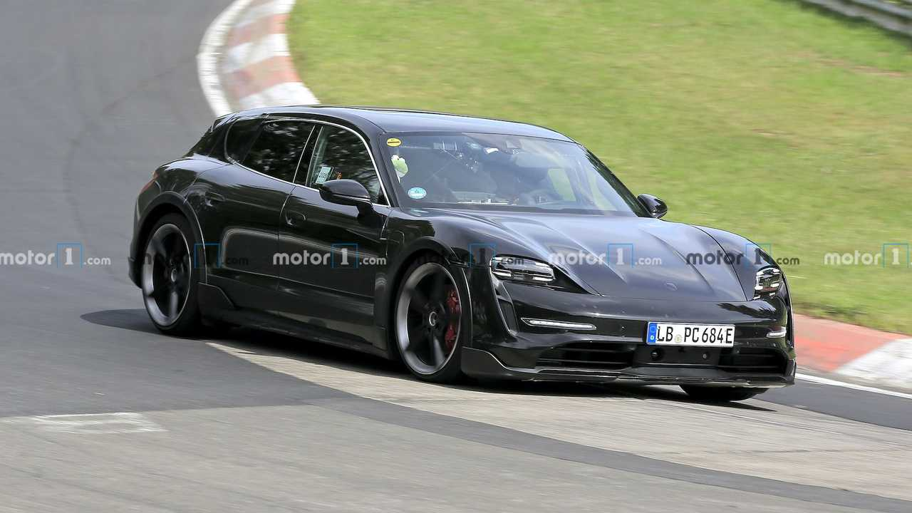 Porsche Taycan Cross Turismo Spied At Nurburgring Front Running