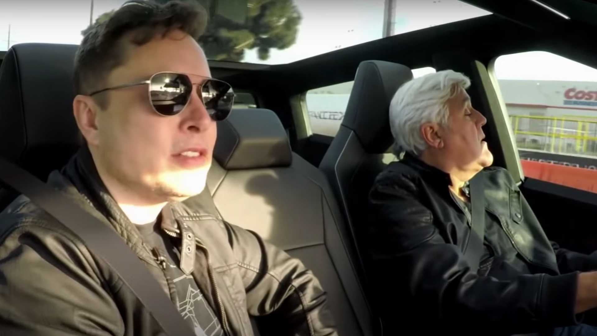Jay Leno Drives The Tesla Cybertruck, Musk Rides Shotgun