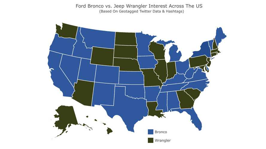Ford Bronco Vs Jeep Wrangler: See Each State's Favorite Off-Roader