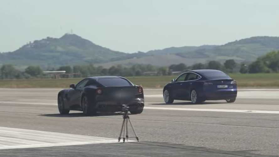 Watch Tesla Model 3 Performance Take Down A Ferrari F12