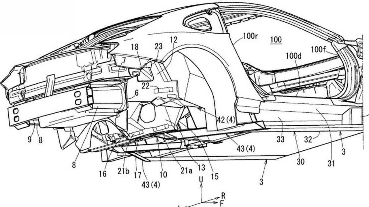 Sebuah gambar paten dari Mazda yang sangat mirip dengan konsep RX Vision dari tahun 2015.