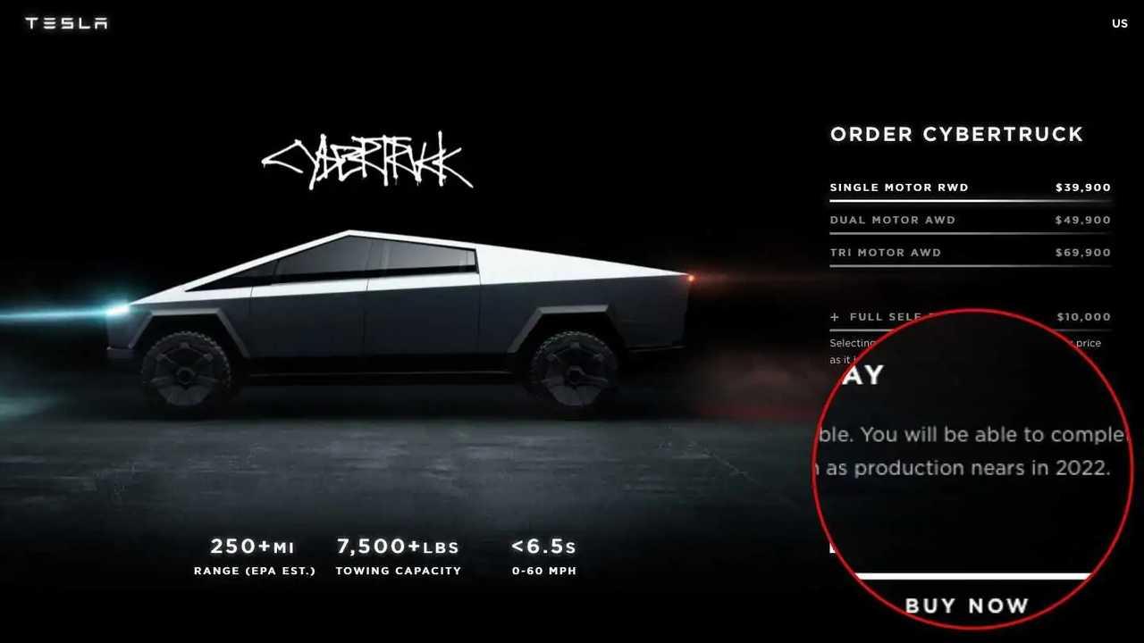 Tesla Cybertruck Configurator Page Updated