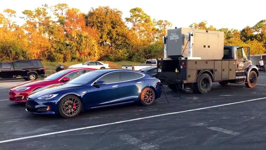 Tesla Model S P100D drag record