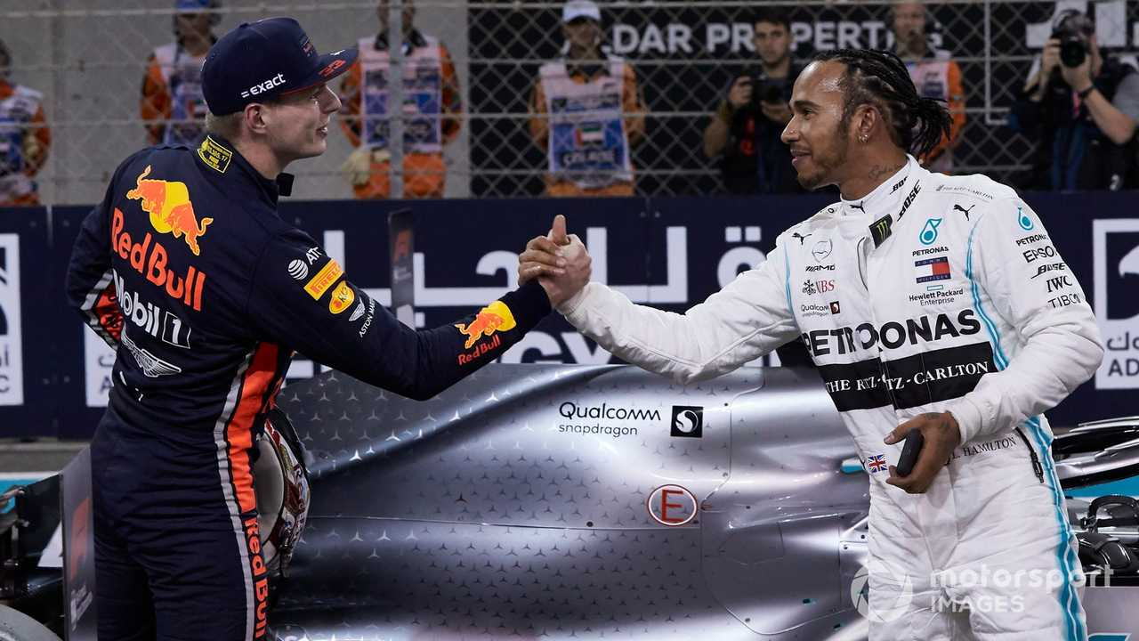 Max Verstappen congratulates Lewis Hamilton at Abu Dhabi GP 2019