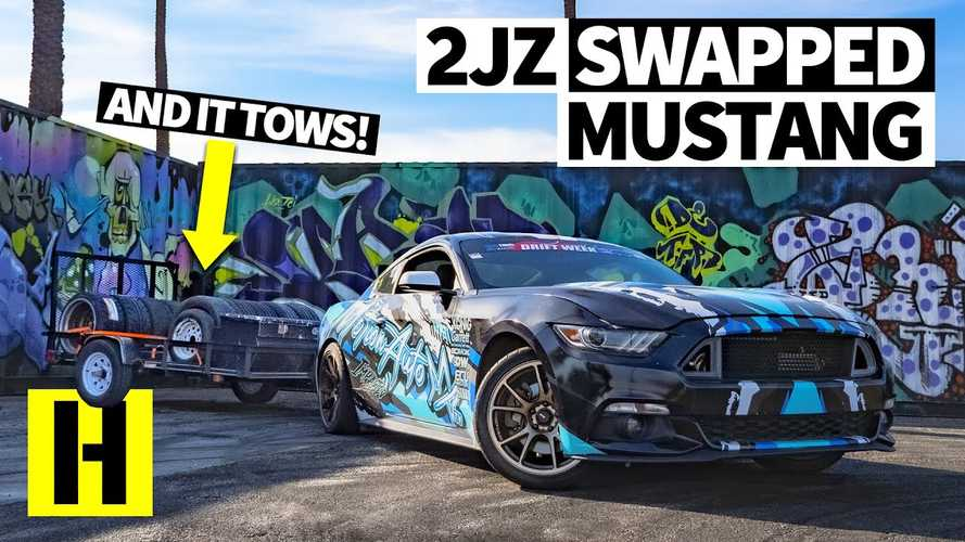 Crazy Ford Mustang Drift Car With 2JZ Swap Tows Its Own Race Tires
