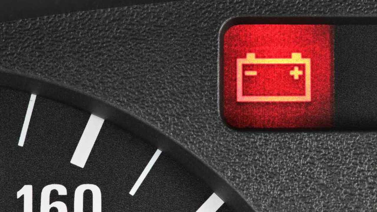 Battery warning light in car dashboard