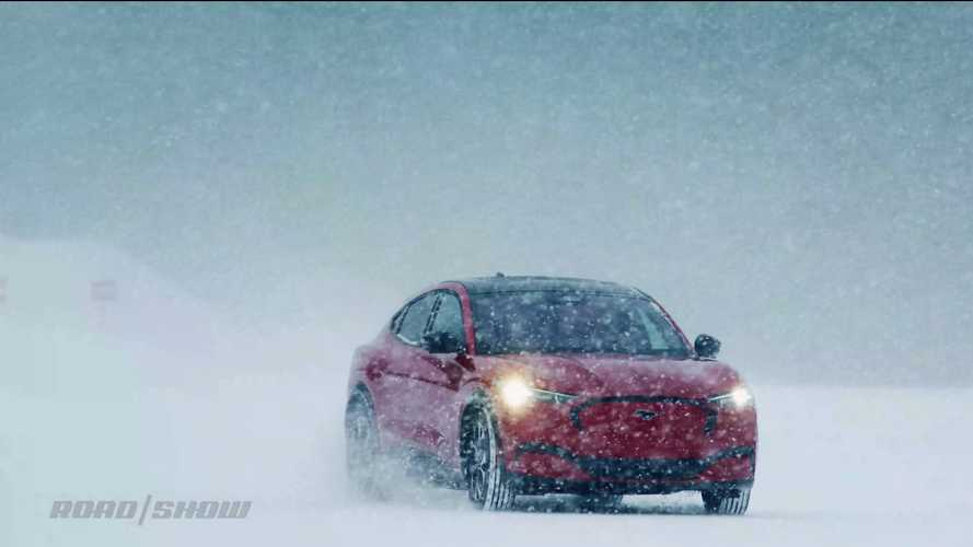 2021 Ford Mustang Mach-E in the Snow