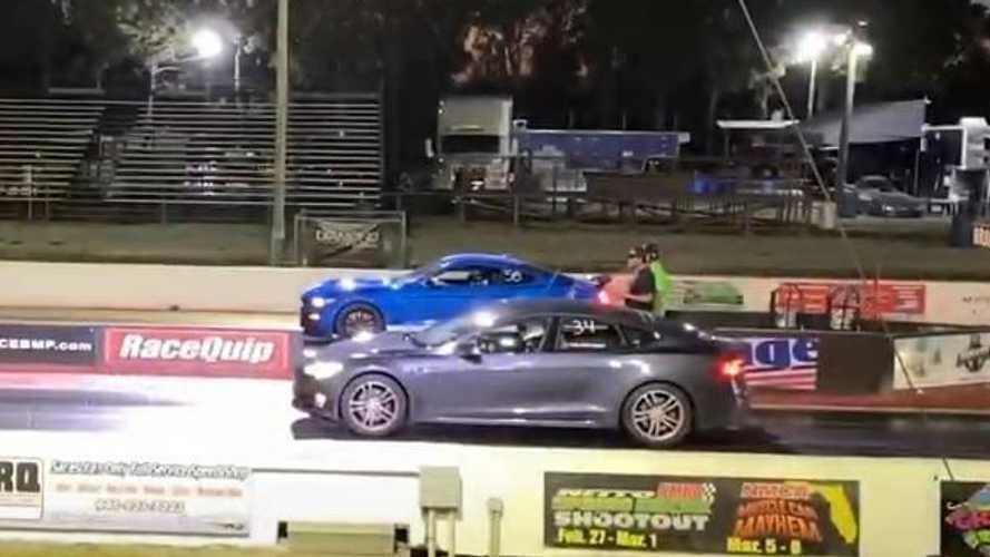 Watch Tesla Model S Drag Race GT500, McLaren 650 S, ProCharged Corvette