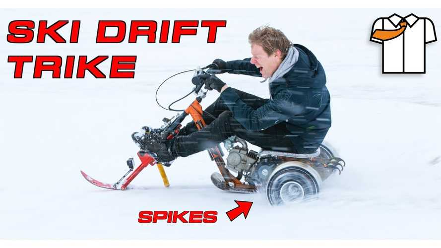 UK mad genius turns drift trike into snow-going machine on skis