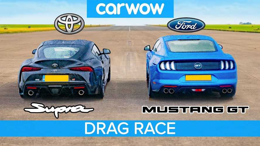 Tuned 2020 Toyota Supra races Ford Mustang GT at a drag strip