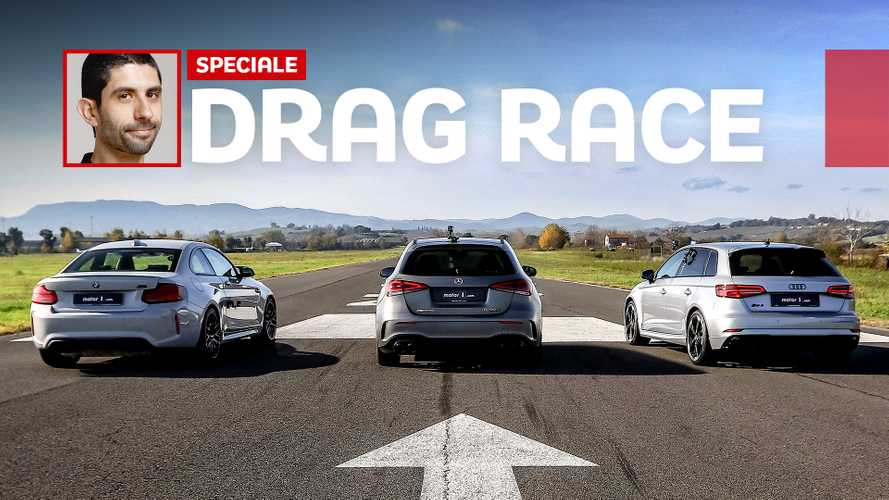 Mercedes A45 S AMG, DRAG RACE contro BMW M2 Competition e Audi RS3