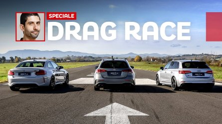 Watch Mercedes-AMG A45 drag race BMW M2 Competition and Audi RS3