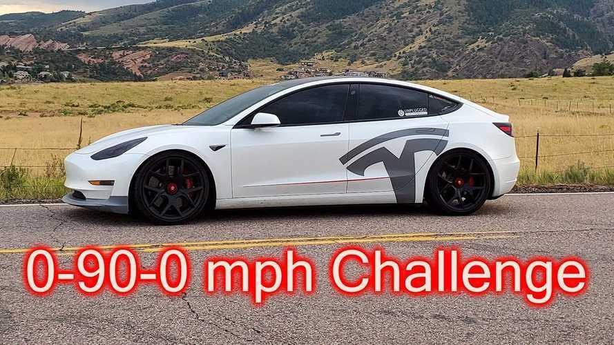 Tesla Model 3 Performance 0-90-0 MPH Specs Vs Porsche Taycan