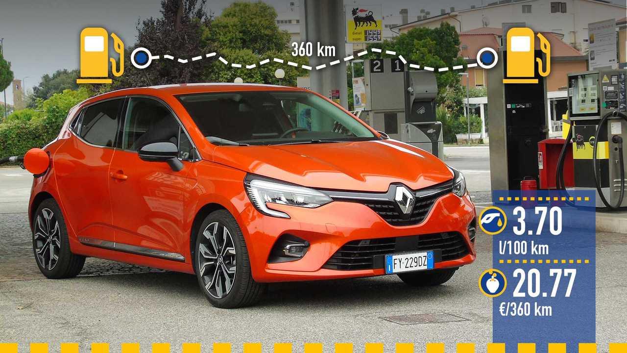 Renault Clio benzina (2019), la prova consumi