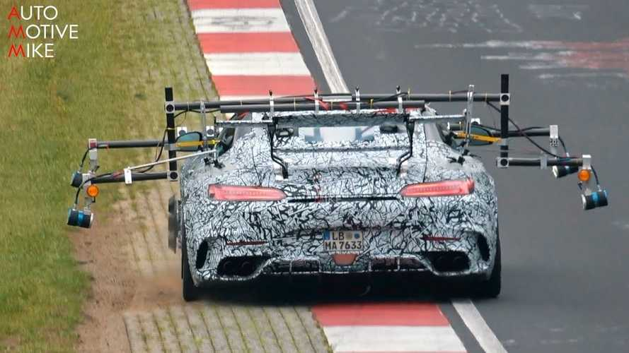 Mercedes-AMG GT R Black Series spied testing with lots of sensors