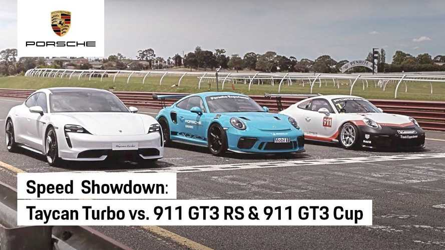 Porsche pits Taycan Turbo against 911 GT3 RS & 911 GT3 Cup: Track & drag