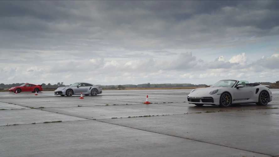 Porsche 911 Turbo S Coupe And Cabrio Drag Race The 991.2 GT3