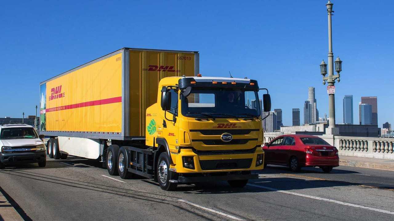 BYD Class 8 battery-electric truck in DHL fleet