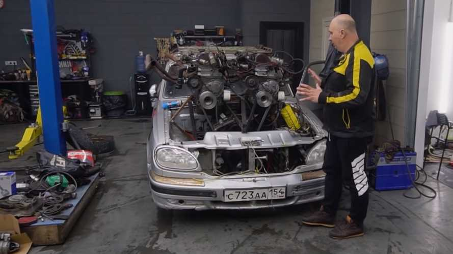 Russians build V12 by strapping three four-cylinder engines to a car