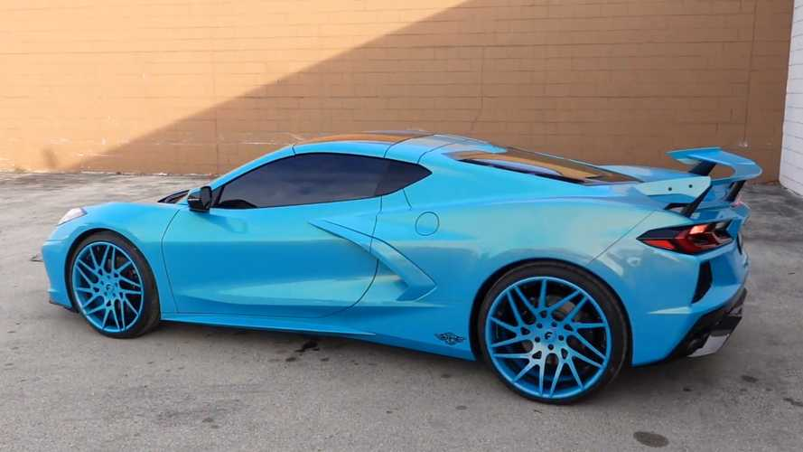Metallic Teal Corvette C8 With Matching Forgiato Wheels Is Very Blue
