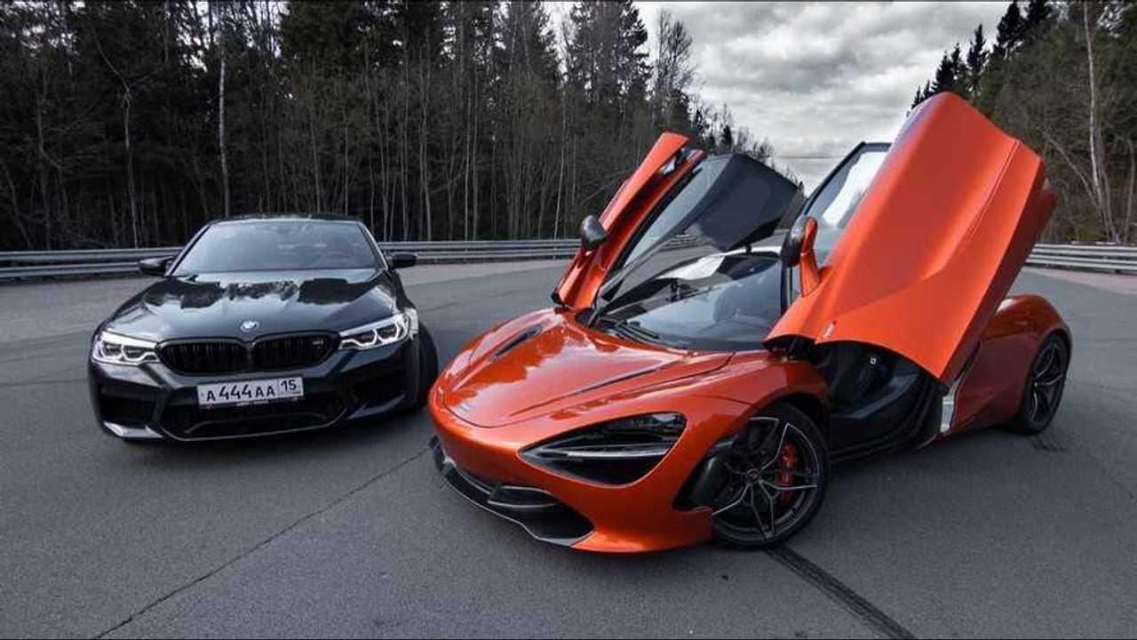 BMW M5 versus McLaren 720S drag race