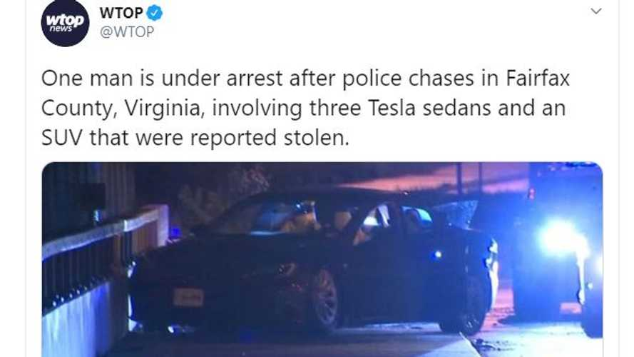Three Stolen Teslas Chased By Virginia Police, Two Drivers Get Away