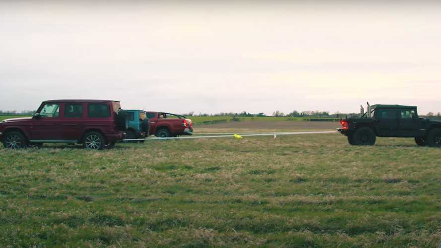 Watch: Hummer H1 Takes On AMG G63, Jimny, And L200 In Tug Of War