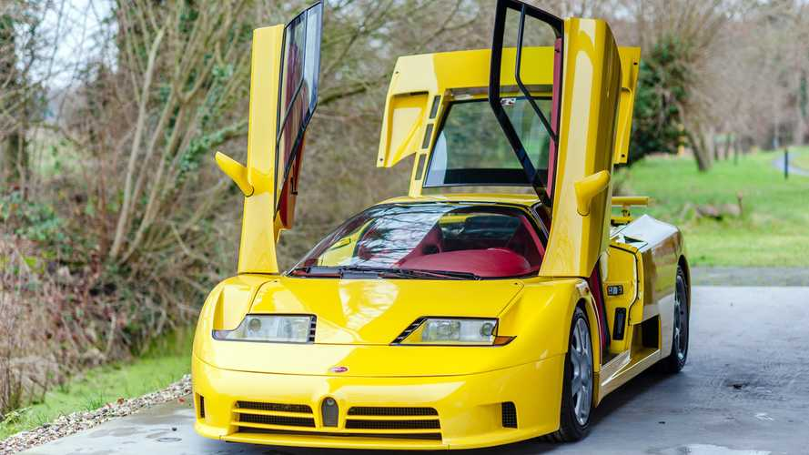 Yellow Bugatti EB110 SS with red interior