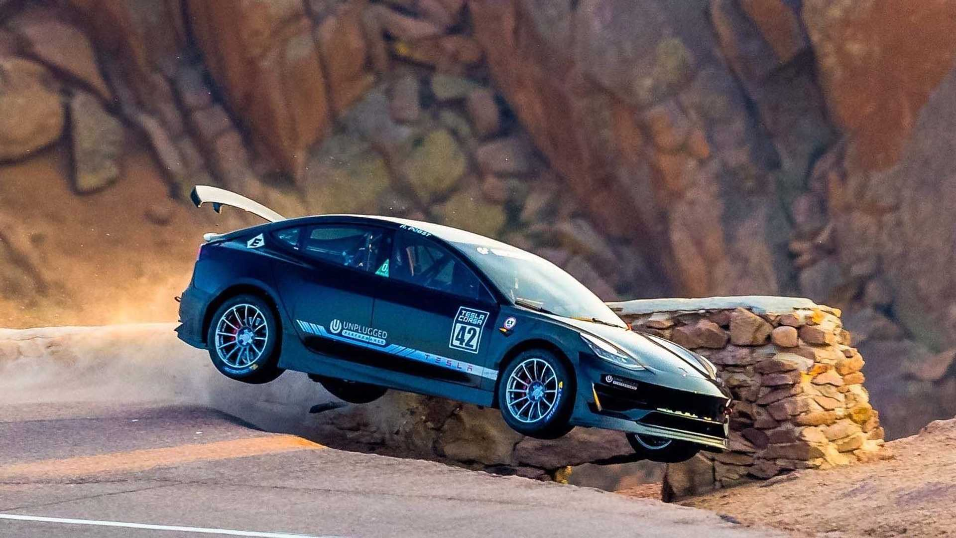 Unplugged Performance Tesla Model 3 Pikes Peak Crash