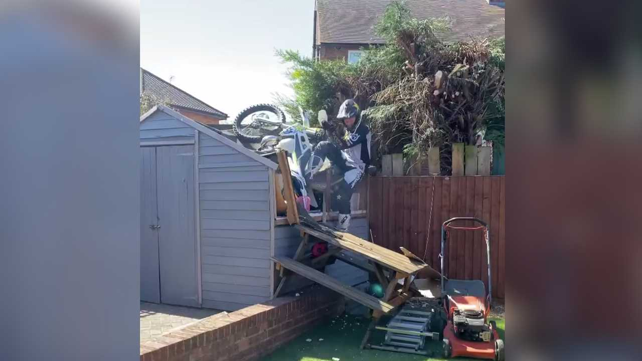 Graham Jarvis Destroys Shed With Motocross