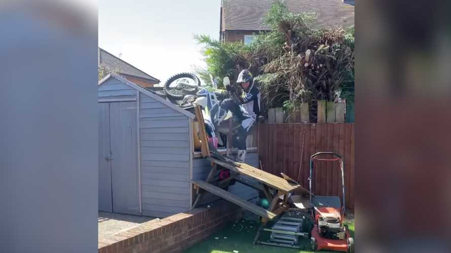 British trials rider tackles DIY obstacle course and it doesn't go well
