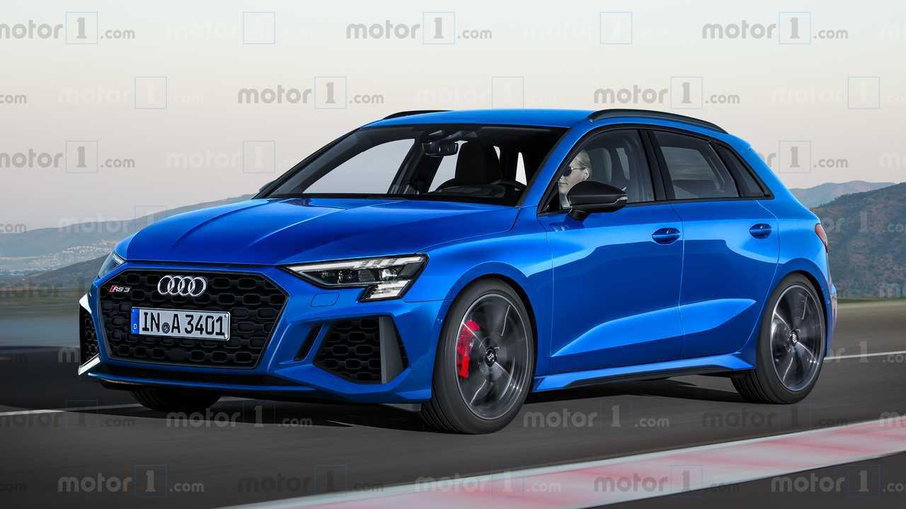 Эксклюзивный рендер нового Audi RS 3 Sportback в синем кузове