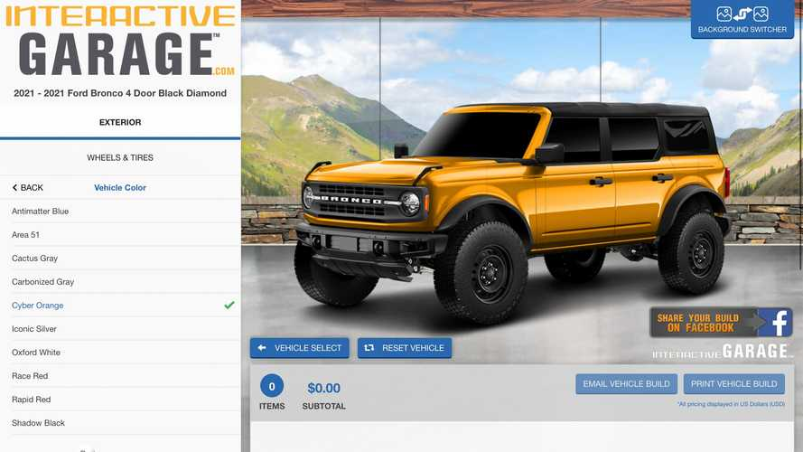 2021 Ford Bronco Unofficial Configurator Is Impressively Detailed