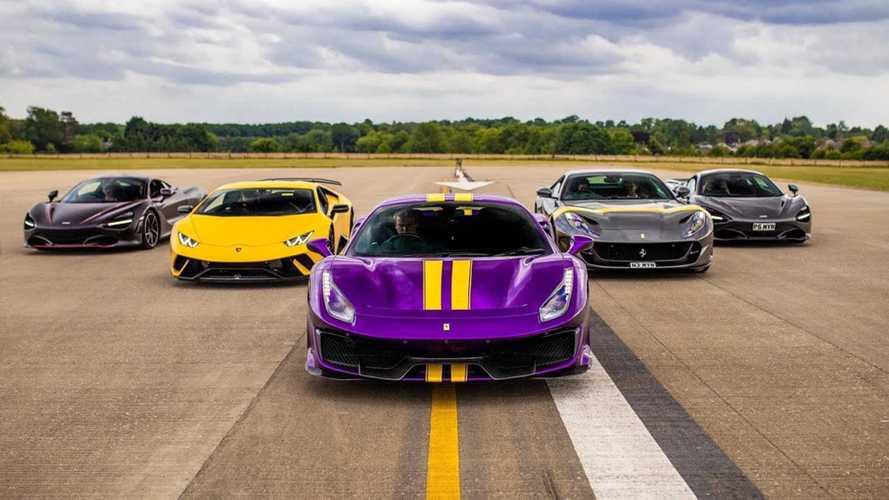 Supercar drag race: Ferrari 488 Pista, 812 SF, McLaren 720S, Huracan