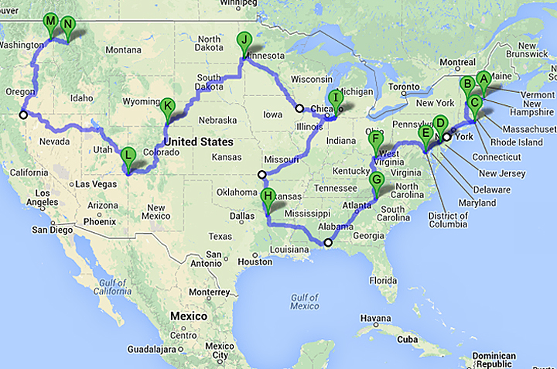 How to Take a 48 State Road Trip in Less than 6 Days  States Road Trip Map on louisville zip code map, american road map, all 48 states road map, 48 state motorcycle ride map, us travel map, 48 states on a motorcycle, us landmarks to visit driving map, 48 states in 48 days, large united states time zone map, 48 states in 10 days route, hands across america map, usa map, ky mammoth cave national park map, 48 states list,