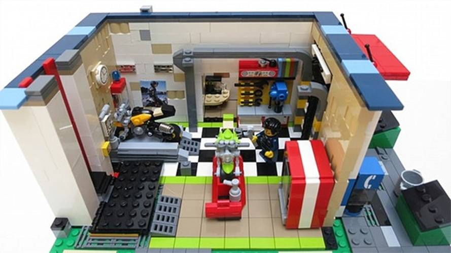 A Lego motorcycle shop