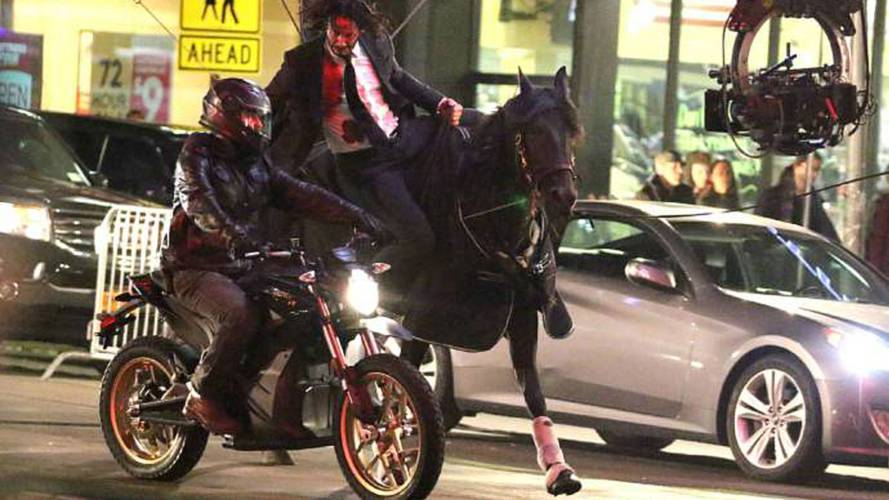 New Keanu Reeves Stunt Pits Horse Against E-Bikes