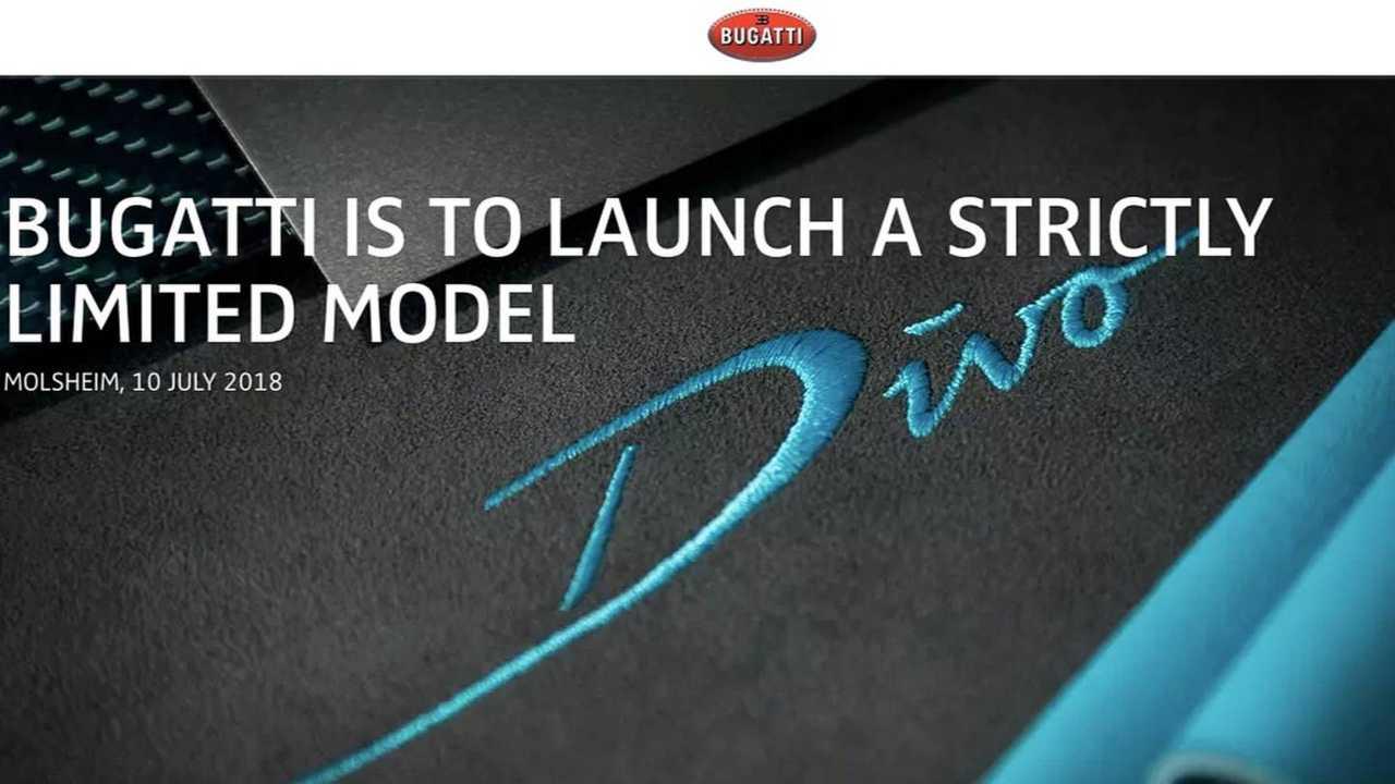 Bugatti Divo primo annuncio
