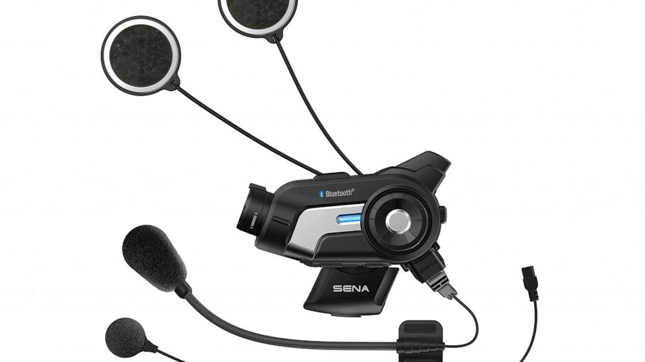 The Sena 10C shown with the included microphone options.