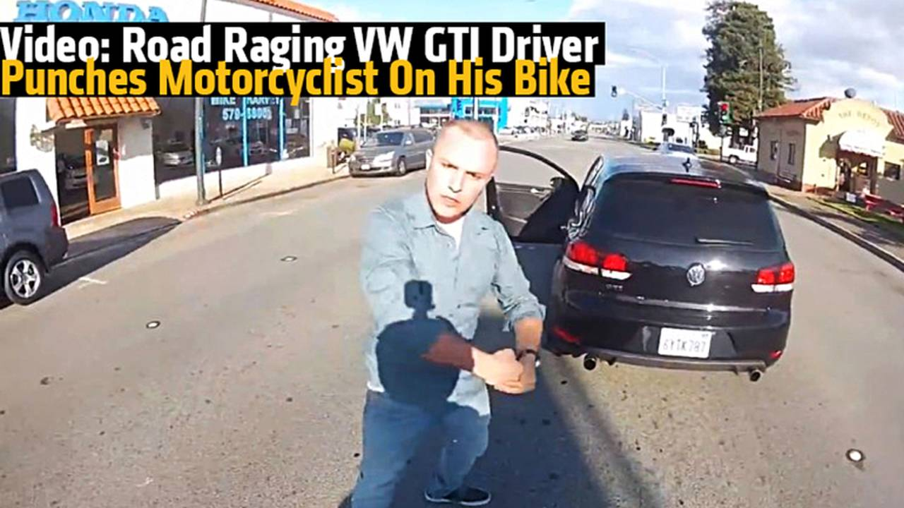 Video: Road Raging VW GTI Driver Punches Motorcyclist On His Bike