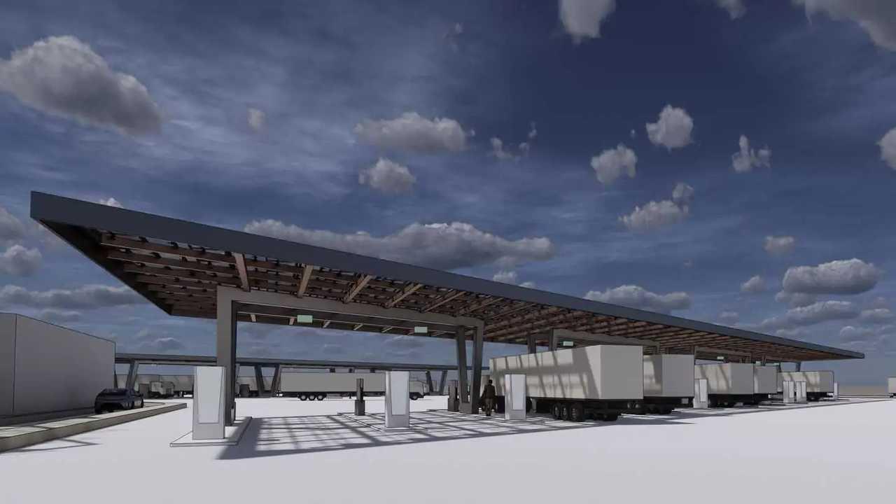 WattEV Megawatt E-Truck Stop - fast charging station of trucks