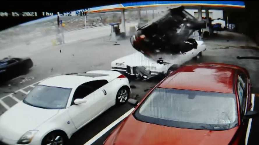 Watch Out Of Control Motorist Crash Into Gas Station Parking Lot