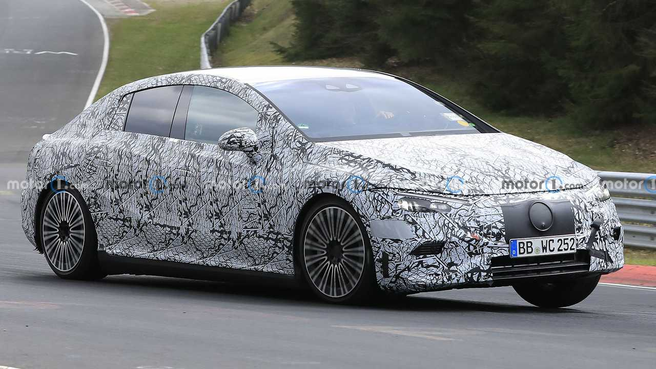 Mercedes-Benz EQE spy photos from the Nurburgring.