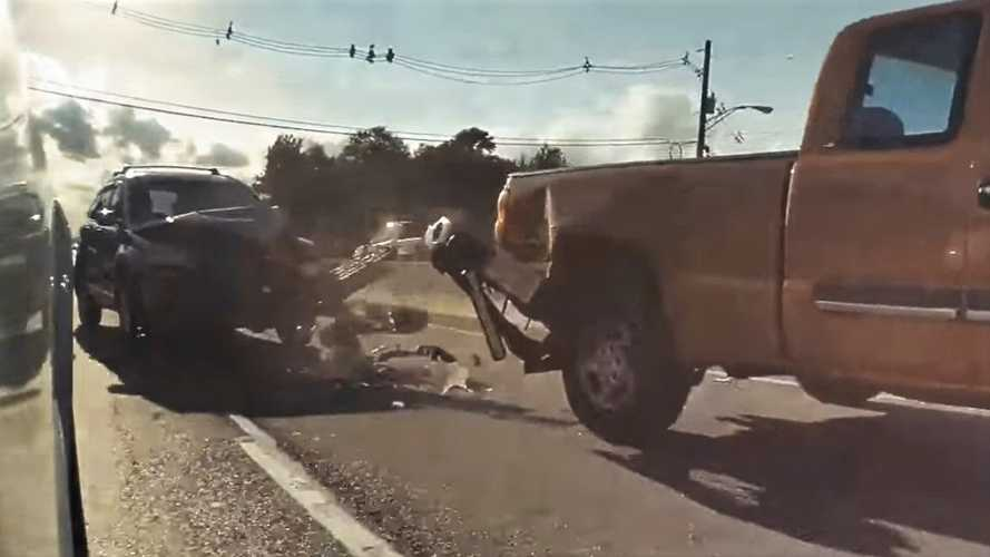 Watch Teslacam catch Honda smashing into pickup truck, SUV flipping over and more