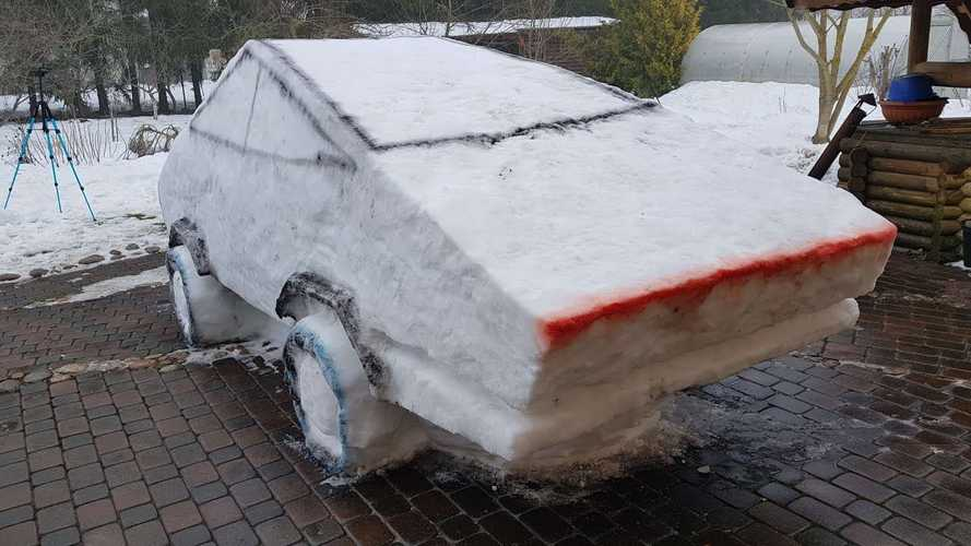 Check Out This Tesla Cybertruck Made Out Of Snow