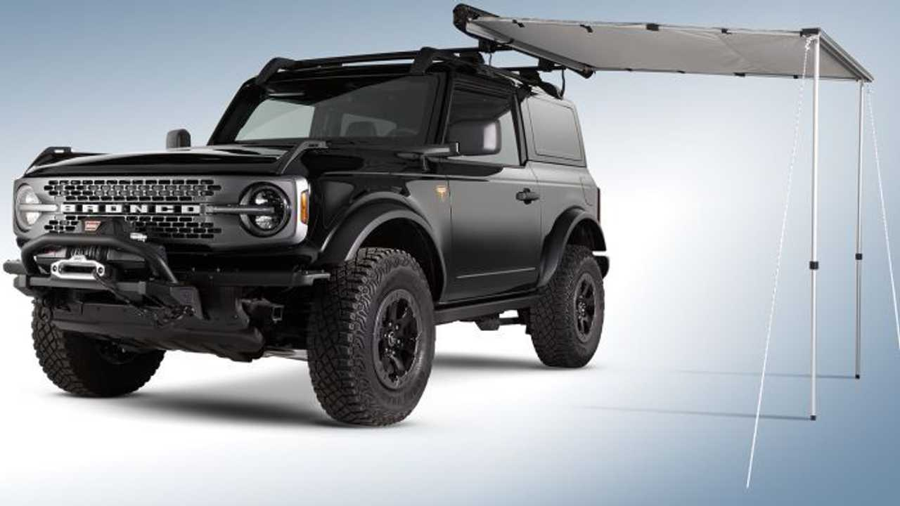 black ford bronco with awning
