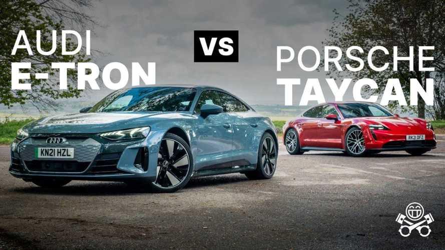 Watch Porsche Taycan 4S Compared Against Audi E-Tron GT
