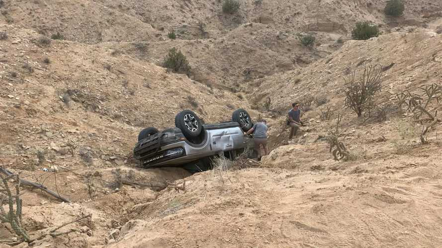 Ford Bronco Sport Rolls Down Hill Onto Roof, Drives Away After Rescue