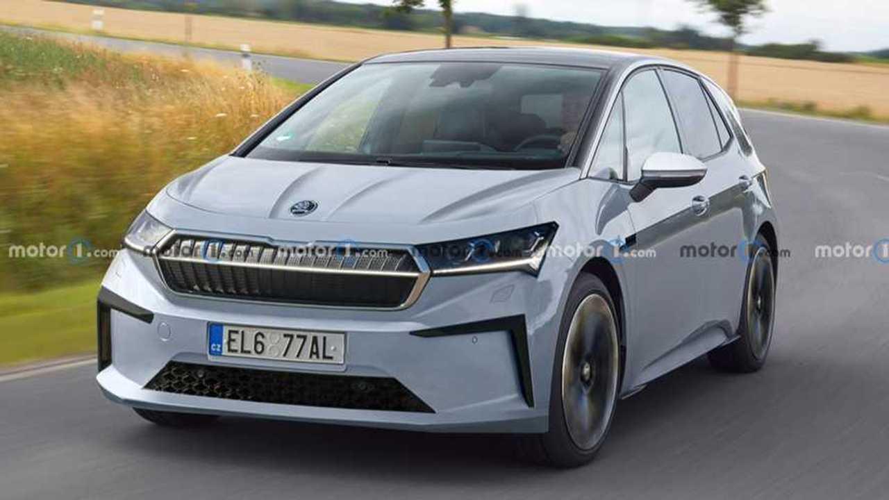 Skoda'nın 2024'te tanıtması beklenen EV modeline ait bir tasarım çalışması.