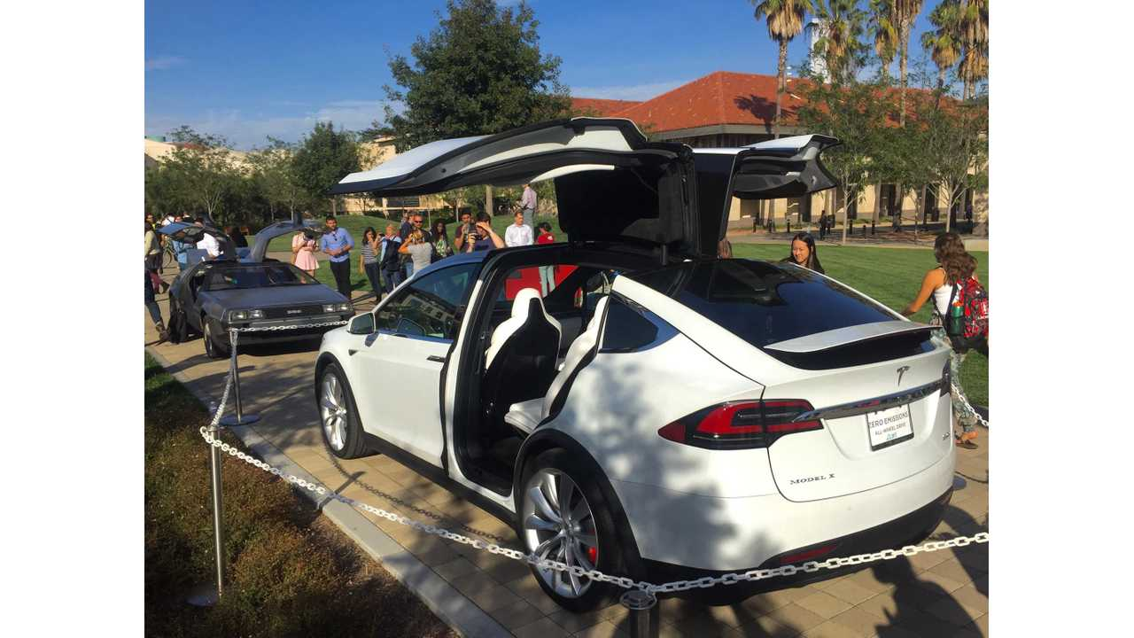 Tesla Model X Falcon Doors Versus DeLorean DMC-12 Gull-Wing Doors - Images + Video